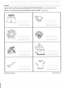 worksheet for SH 001